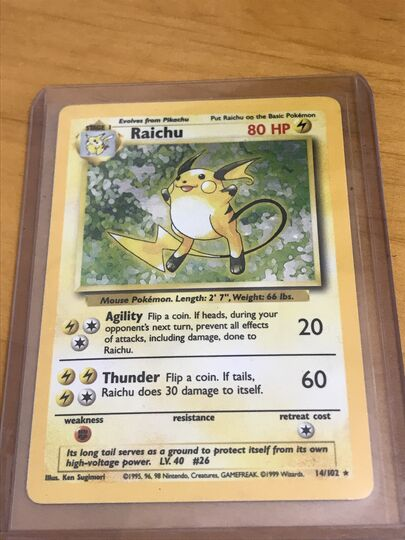 Pokemon card 1999 Holo rare Raichu 14/102