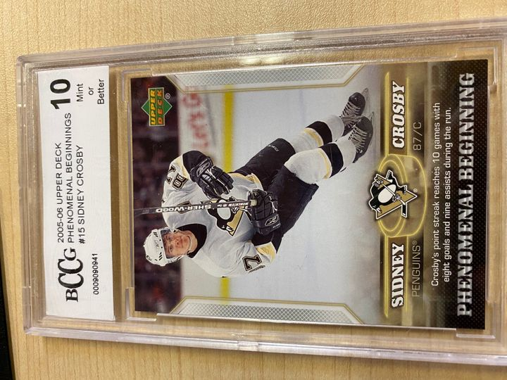 2005/06 Upper Deck Phenomenal Beginning, card number 15, Sidney Crosby. Rated 10 by Beckett