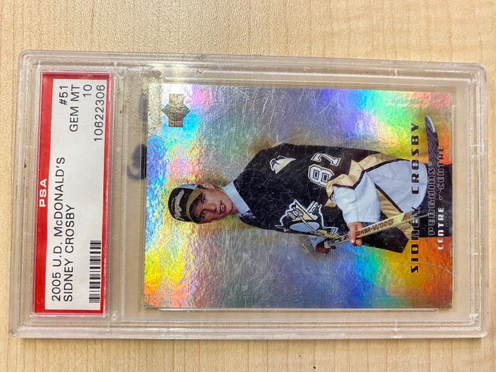 2005 Upper Deck McDonalds card number 51, sidney Crosby. Graded 10 by PSA