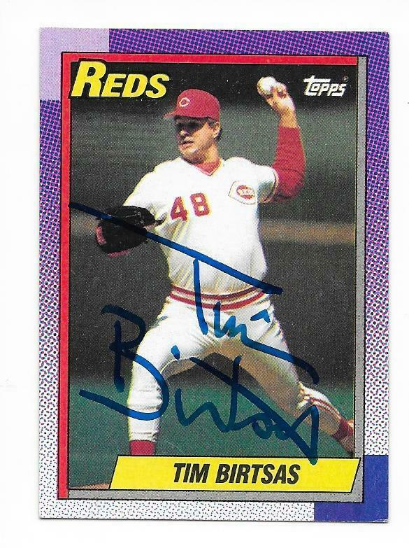 TIM BIRTSAS 1990 TOPPS AUTOGRAPHED SIGNED # 687 CINCINNATI REDS - Image 1