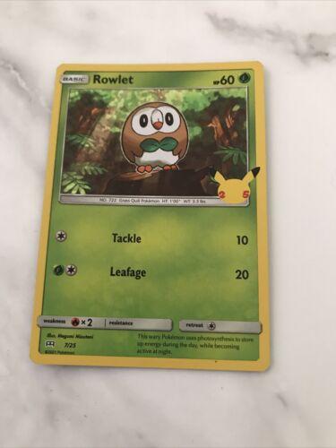 Holo Rowlet (7/25) McDonald's Pokemon 25th Anniversary Promo Card