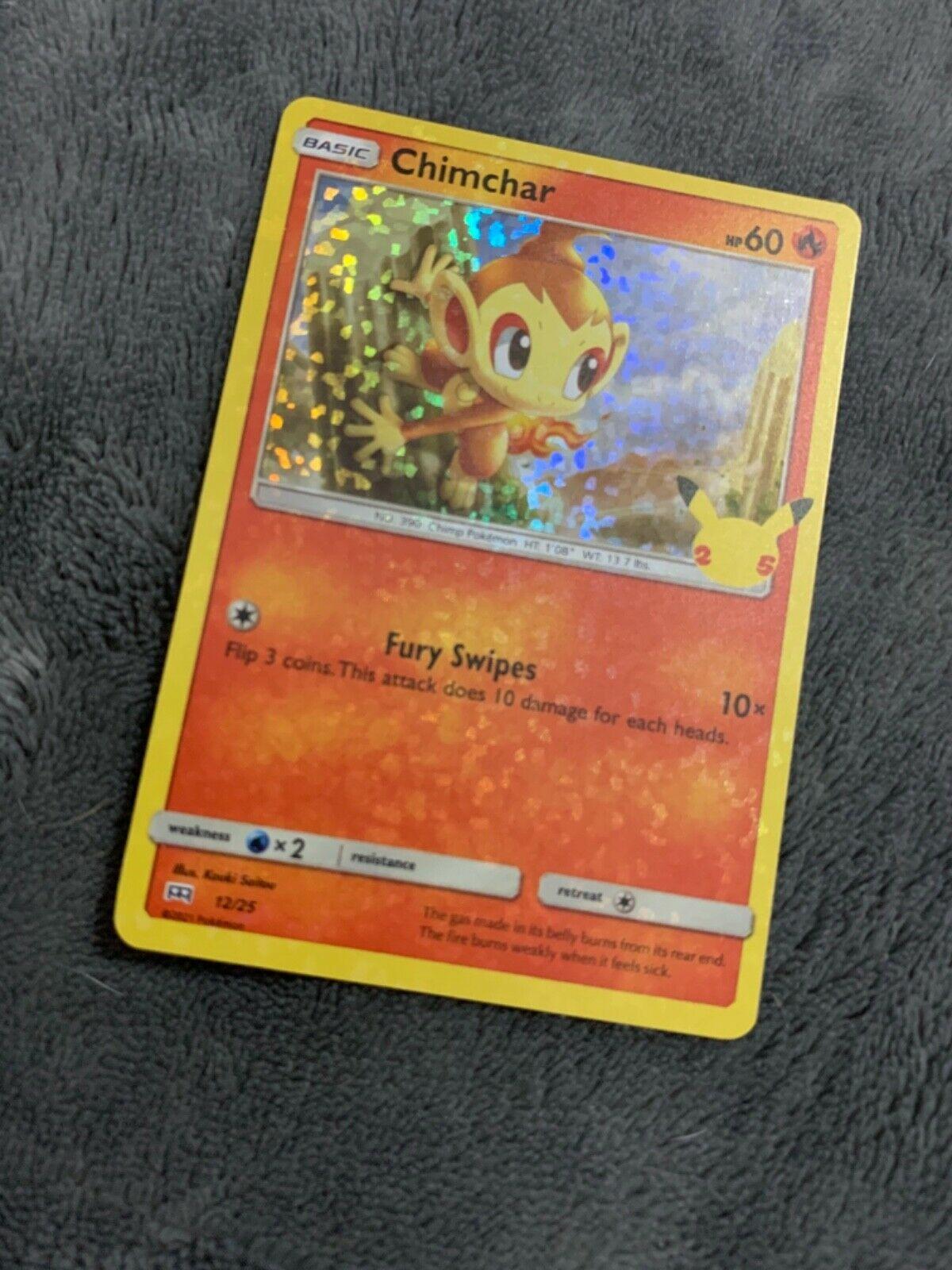 Pokemon McDonald's Chimchar HOLO FOIL BLEED ERROR 12/25 2021 Promo Card