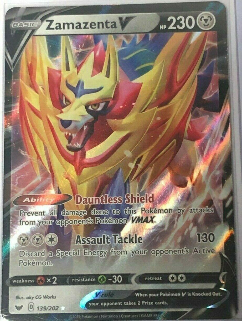 1 x Pokemon Zamazenta V 139//202 Ultra Rare Sword /& Shield Base Set NM-Mi