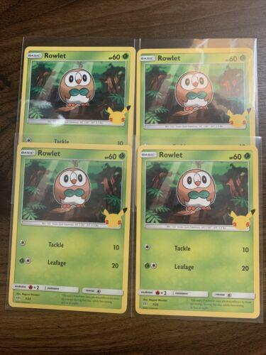 (4) Rowlet 7/25 - 25th Anniversary - Non Holo - McDonald's Pokemon Card - NM+