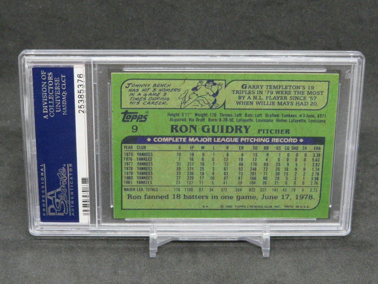 1982 TOPPS RON GUIDRY #9 PSA 9 MINT NEW YORK YANKEES MS - Image 2