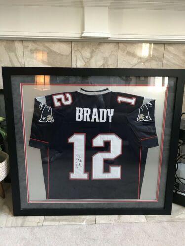 TOM BRADY PATRIOTS #12 autographed signed Jersey w/COA - framed
