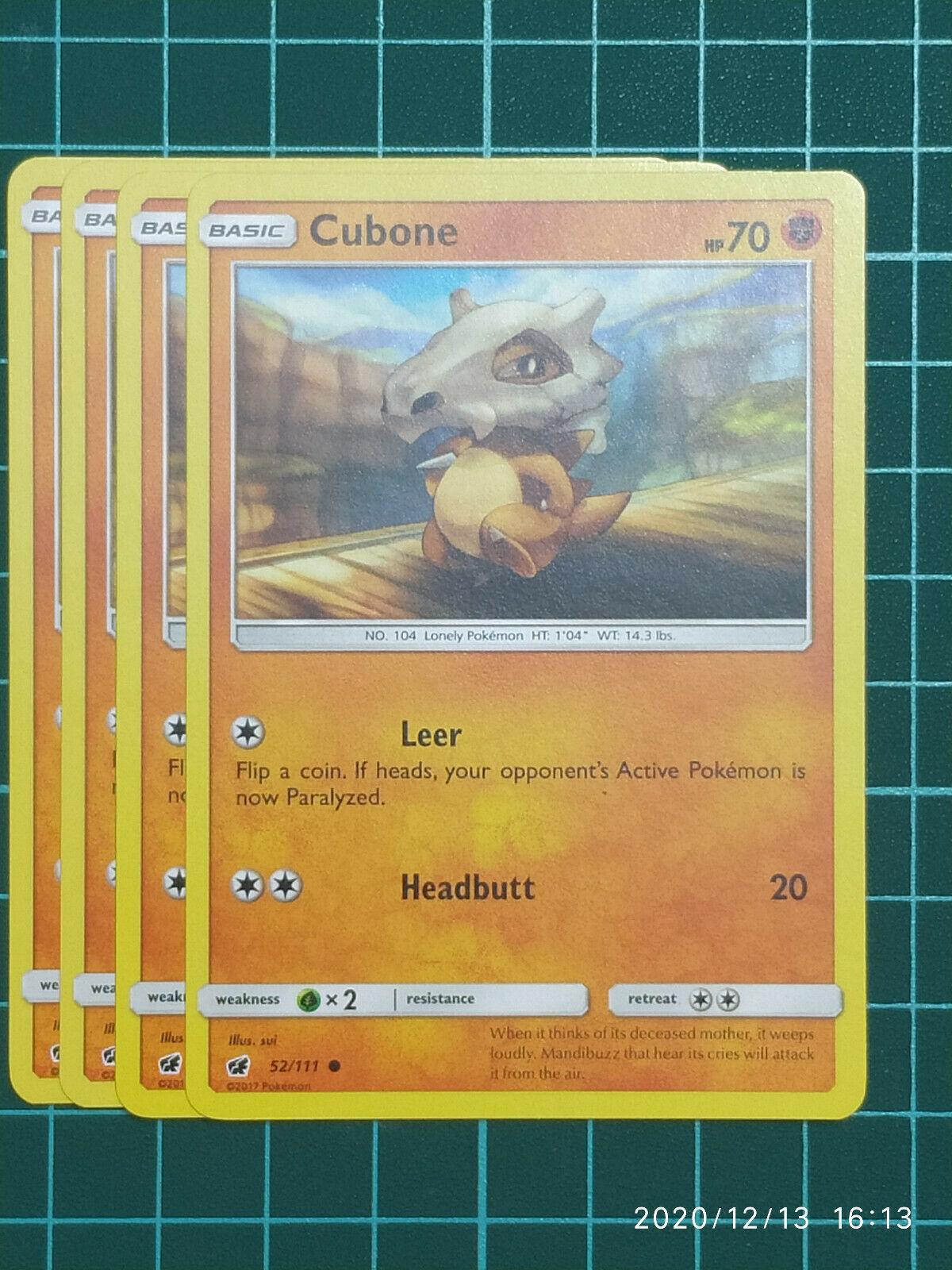 POKEMON CARD - 4 x Cubone 52/111 - Common - S&M Crimson invasion - NM - Image 1