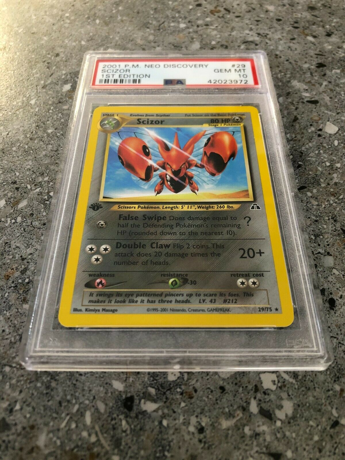 Pokemon TCG Cards 1st Edition Scizor 29/75 Neo Discovery Rare PSA 10 GEM MT - Image 2