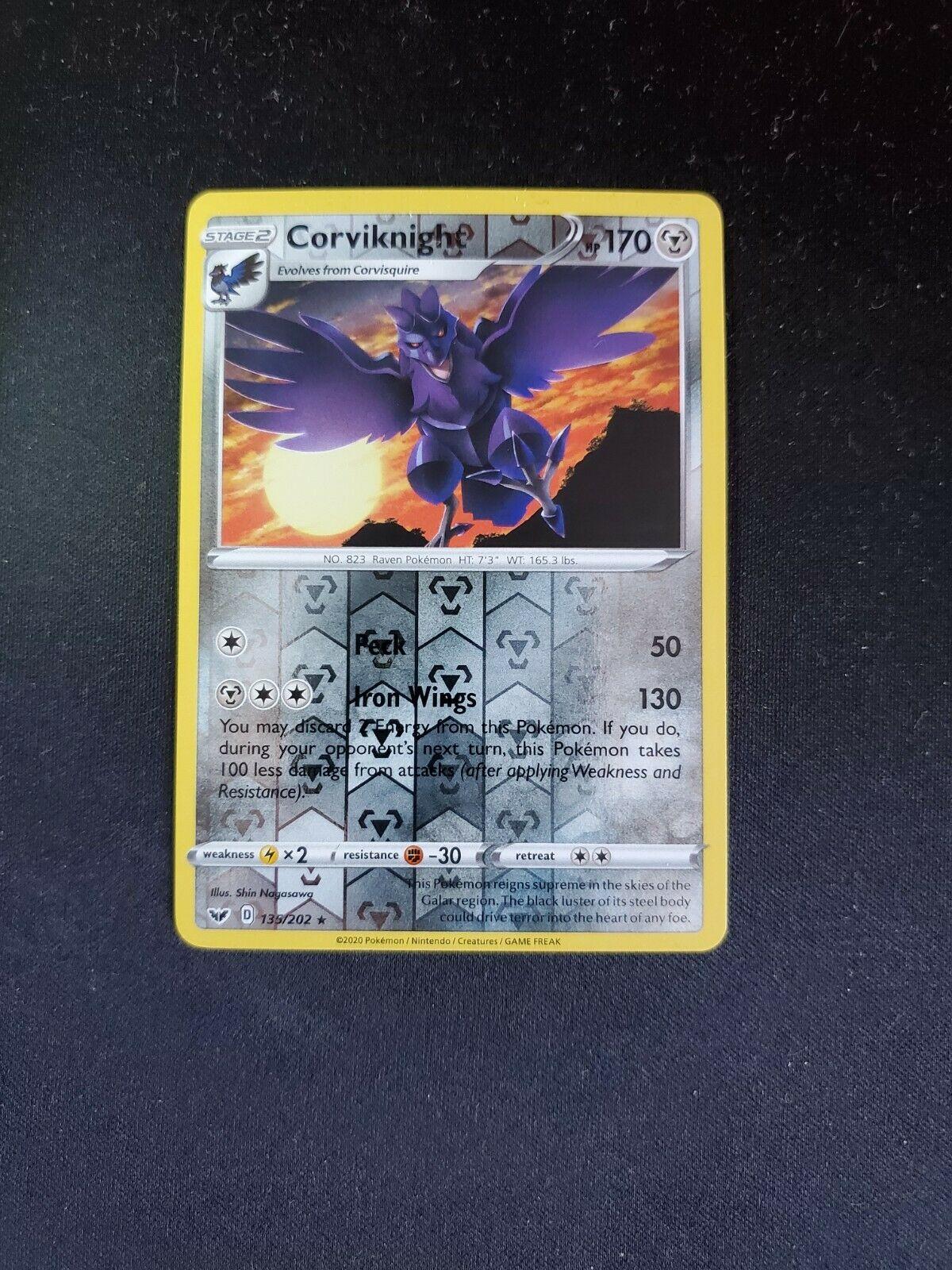 Corviknight 2020 Pokémon Sword & Shield Reverse Holo #135/202 MT, FREE SHIPPING - Image 1
