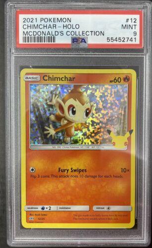 2021 ChimChar HOLO 12/25 McDonald's Pokemon Card 25th Anniversary  PSA 9 Mint!