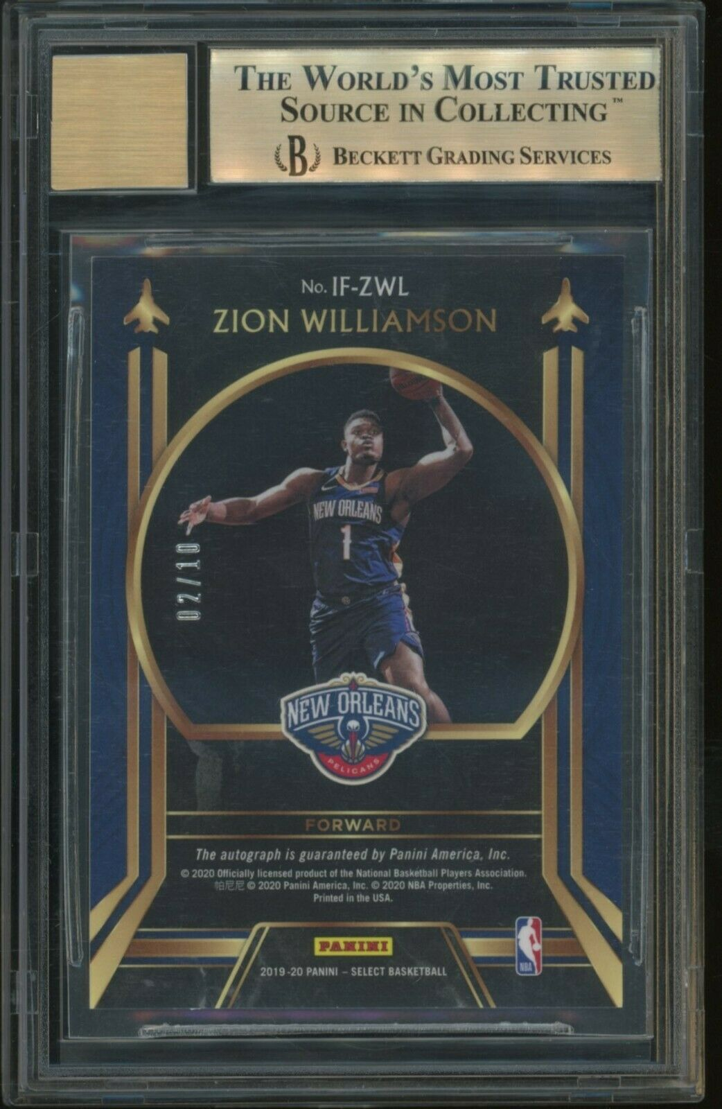 2019-20 Select Gold Prizm In Flight #1 Zion Williamson RC AUTO /10 BGS 9.5 w/ 10 - Image 2