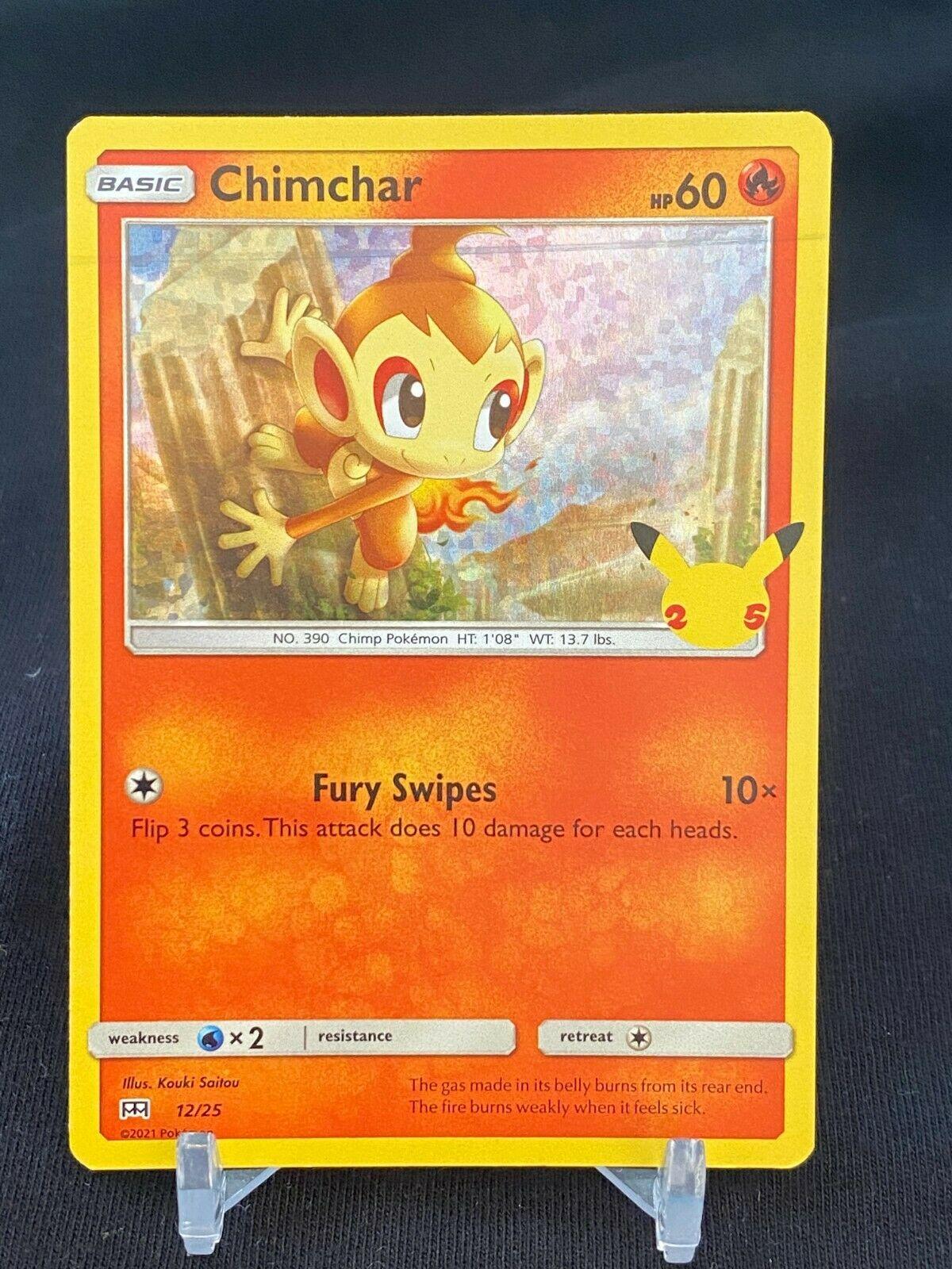 Pokemon Chimchar 12/25 HOLO McDonald's 25th Anniversary Stamped Promo Card - NM+