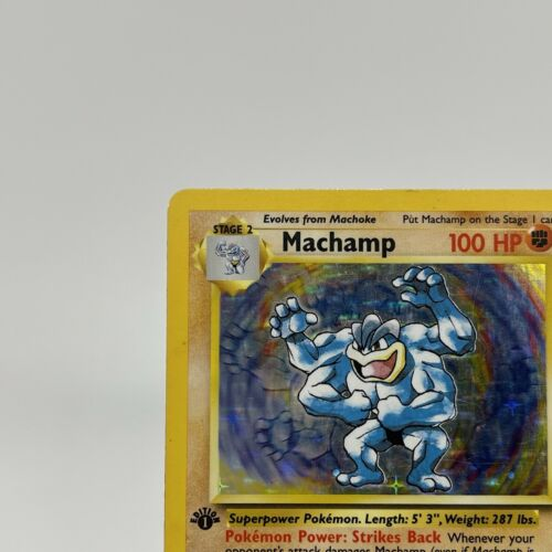 1st Edition Machamp - Holo 8/102 - Vintage 1999 English Base Set Pokemon Card - Image 2