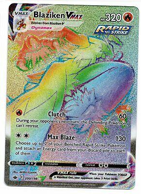 Pokemon Blaziken VMAX 200/198 Secret Rainbow Rare Chilling Reign NEW IN-HAND