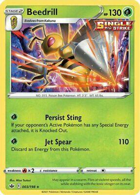 x1 Beedrill - 003/198 - Holo Rare Pokemon SS06 Chilling Reign M/NM