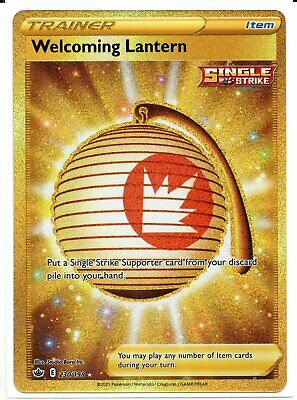 Pokemon Welcoming Lantern 230/198 Gold Secret Rare Chilling Reign NEW IN-HAND