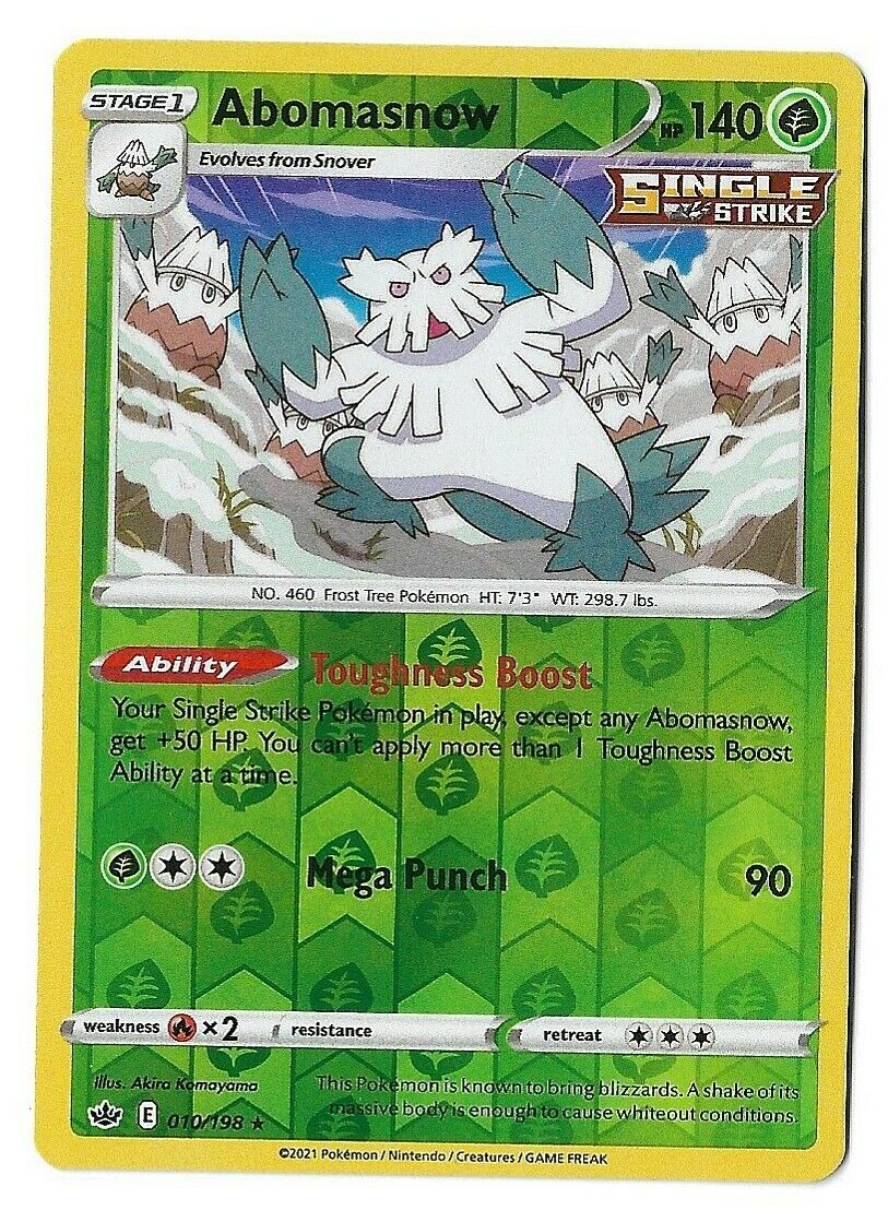 Pokemon Trading card game Chilling reign reverse holo Abomasnow 010/198 NM