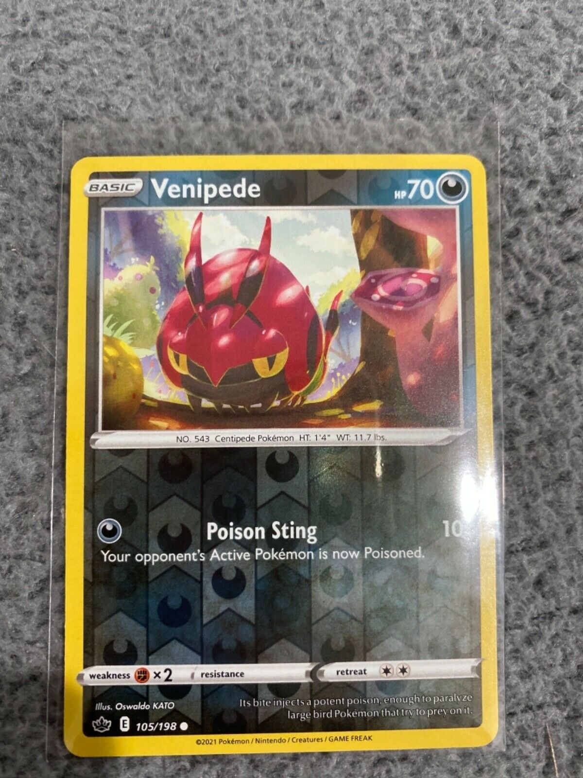 Pokemon TCG Chilling reign reverse holo Venipede 105/198 NM