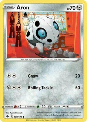x4 Aron - 109/198 - Common - Reverse Holo Pokemon SS06 Chilling Reign M/NM