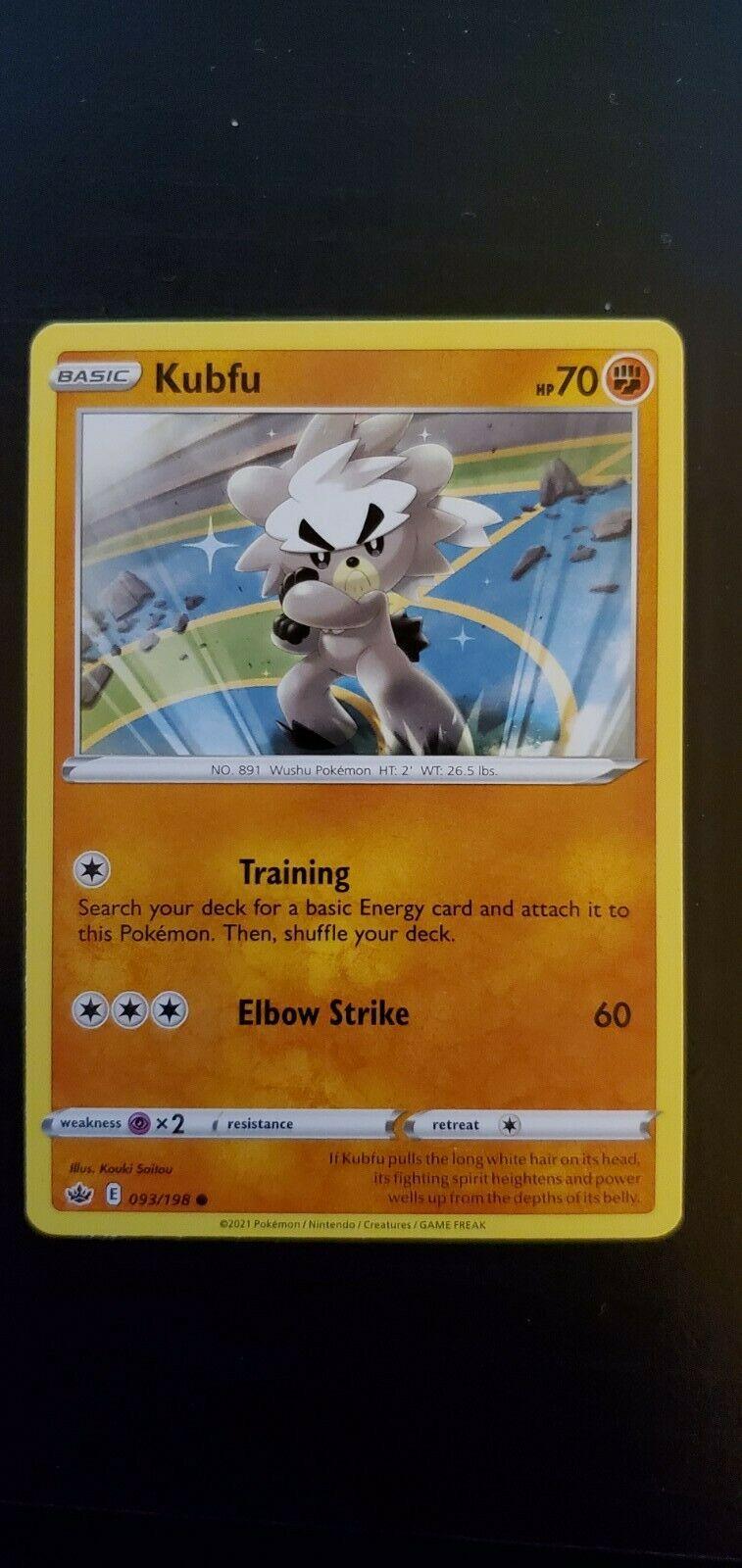 Pokemon Chilling Reign Kubfu Common Card 093/198 NM