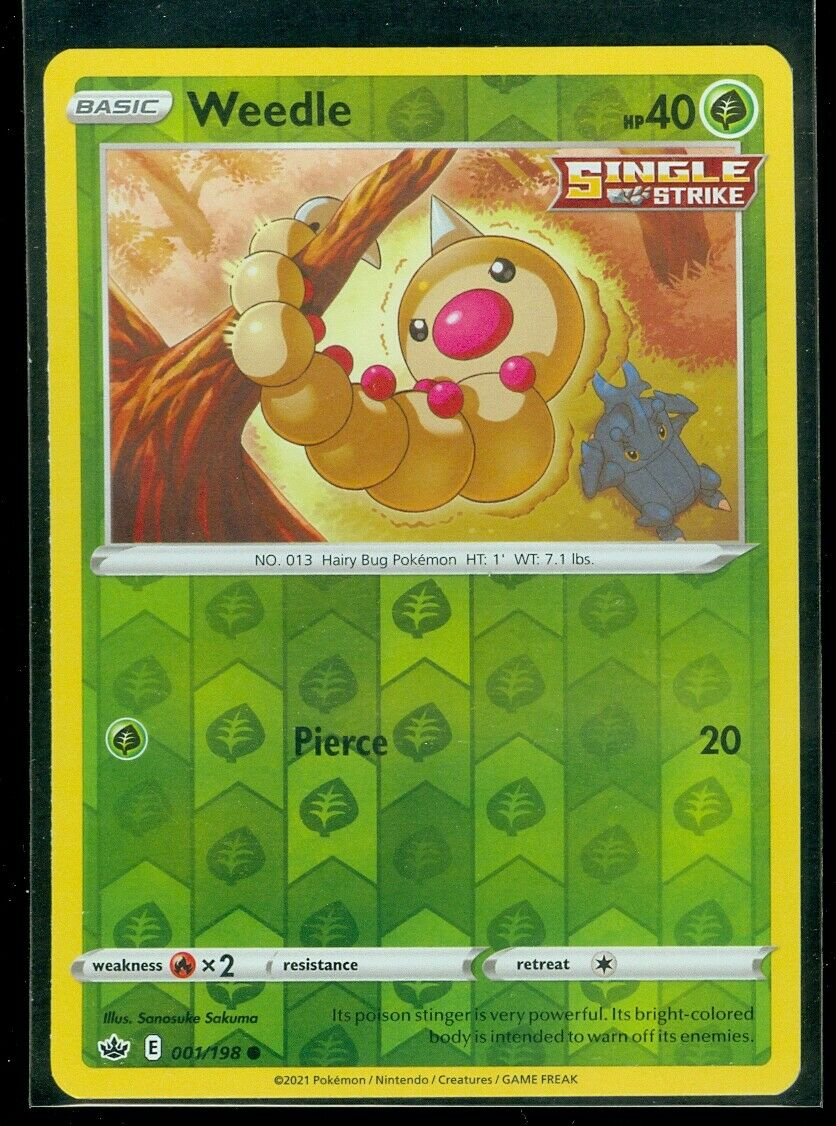 Pokemon WEEDLE 001/198 Chilling Reign - Rev Holo - - MINT