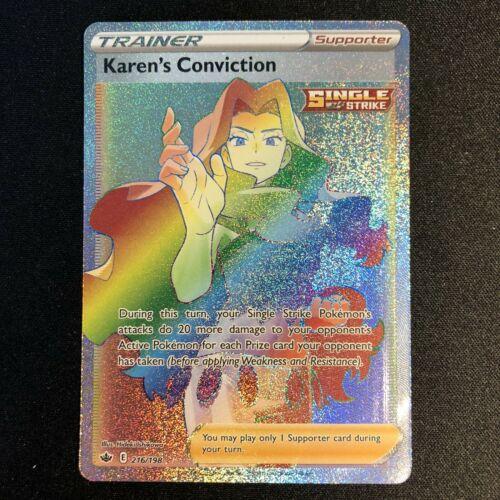 Pokemon Chilling Reign Karen's Conviction 216/198 Secret Rare Full Art NM/M