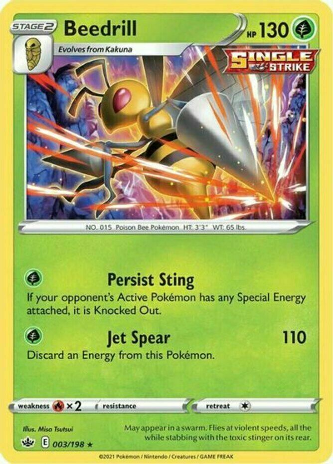 Beedrill - 003/198  Holo Pokemon SS06 Chilling Reign