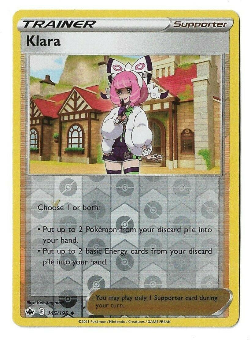 Pokemon TCG Chilling reign reverse holo Klara Supporter 145/198 NM