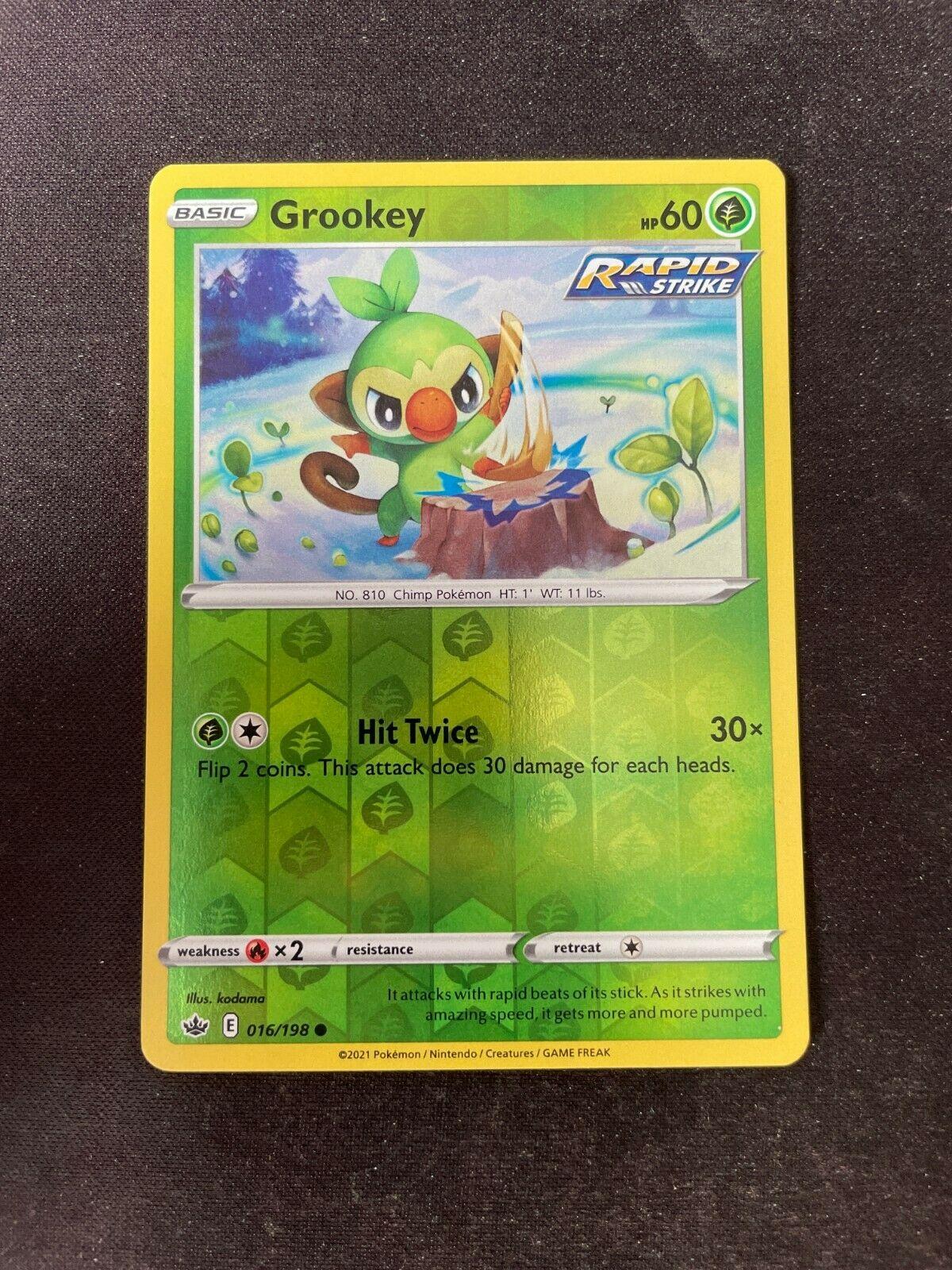 Pokemon TCG Chilling Reign 016/198 Grookey Card Fresh Reverse Holo Mint Rare