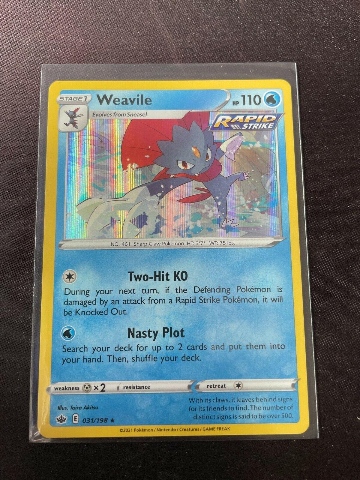 Pokemon TCG Chilling Reign 031/198 Weavile Card Holo Holographic Mint Rare
