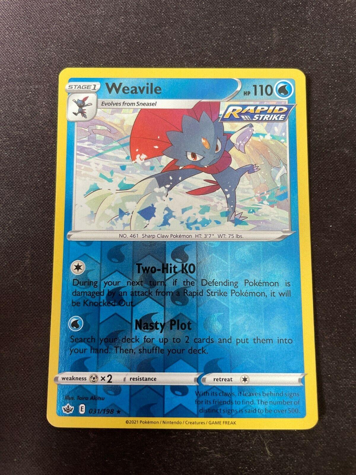 Pokemon TCG Chilling Reign 031/198 Weavile Card Fresh Reverse Holo Mint Rare
