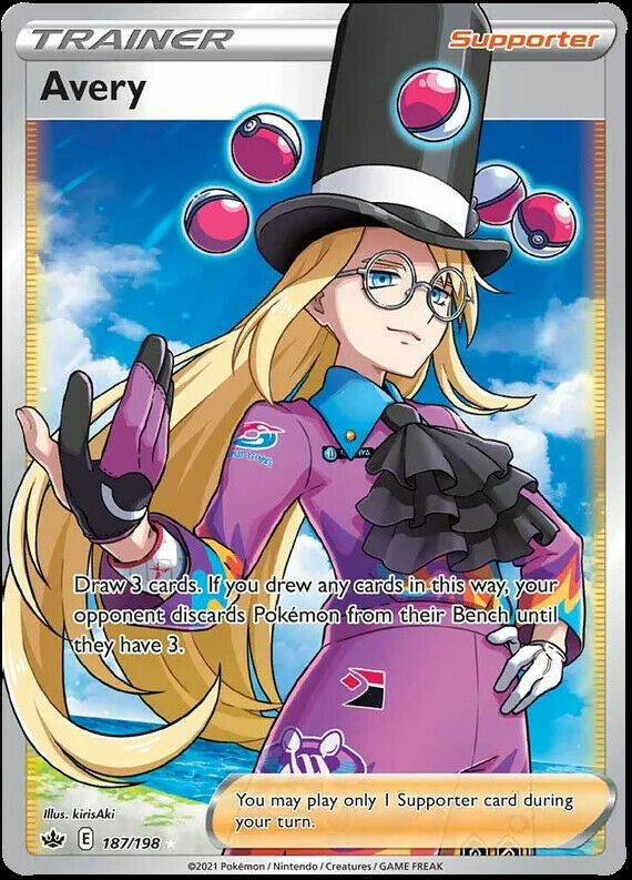 Avery Full Art 187/198 NM|M- Chilling Reign Pokemon