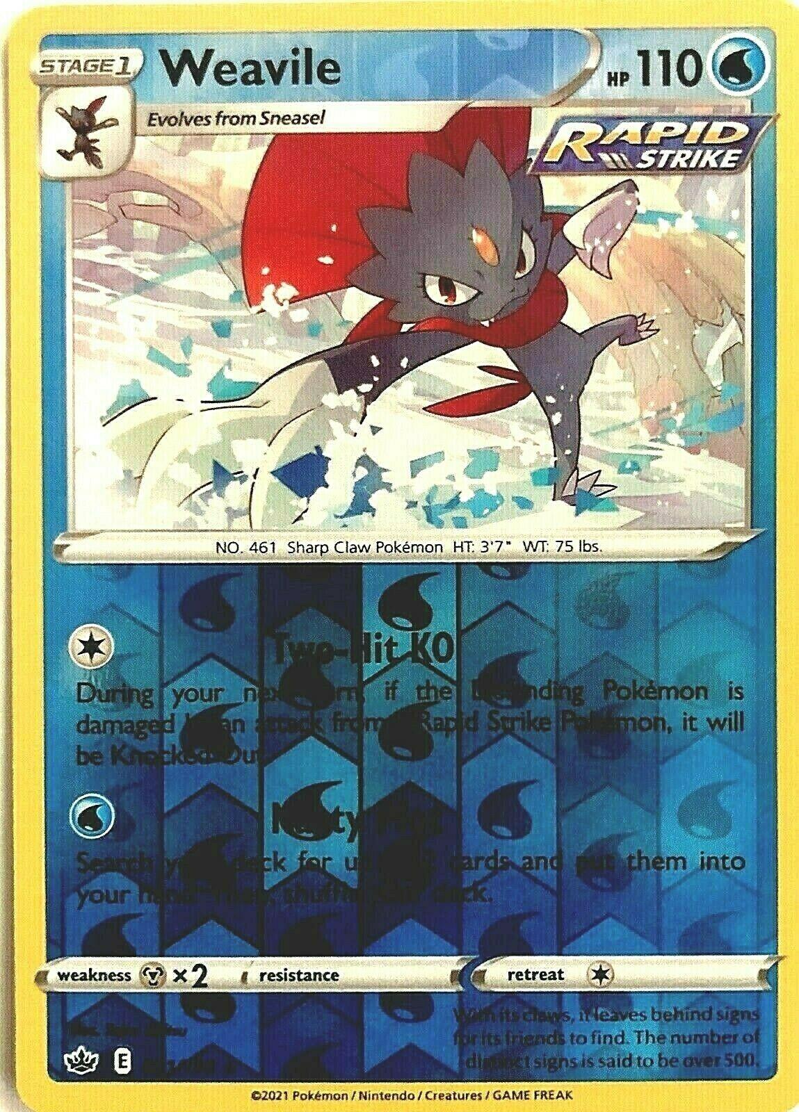 Weavile 031/198 Rare Reverse Holo Chilling Reign Pokemon Card