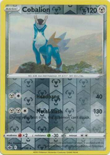 Pokemon -  Cobalion - 114/198 - Reverse Holo Rare - Chilling Reign - NM/M