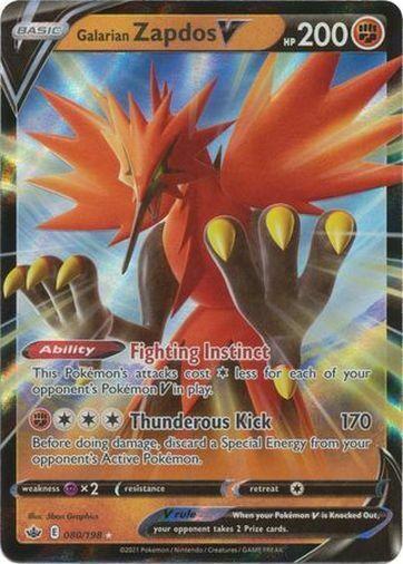 Pokemon Chilling Reign Galarian Zapdos V Ultra Rare 080/198