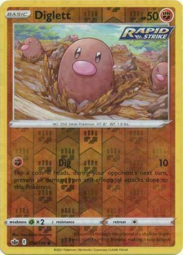 Pokemon -  Diglett 076/198 - Reverse Holo - Chilling Reign - NM/M