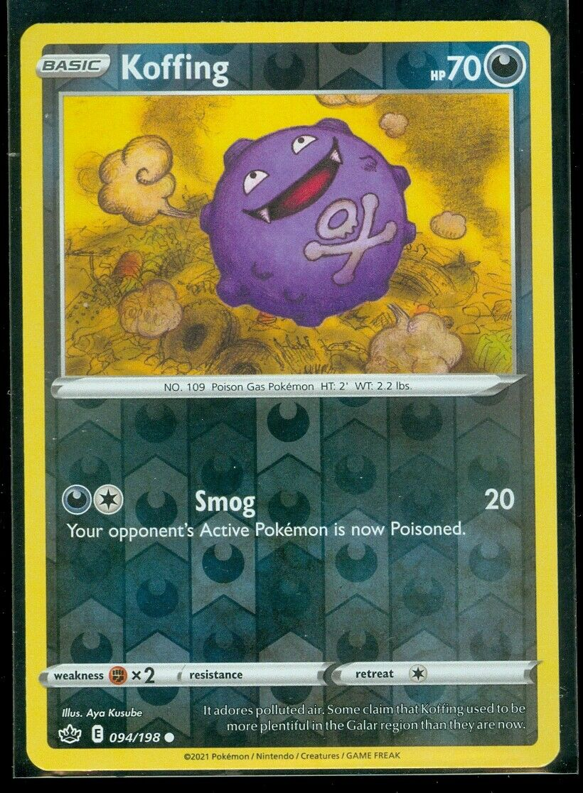 Pokemon KOFFING 094/198 Chilling Reign - Rev Holo - - MINT