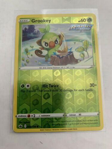 Pokemon Card Chilling Reign Grookey - 016/198 - Common Reverse Holo NM/ Mint