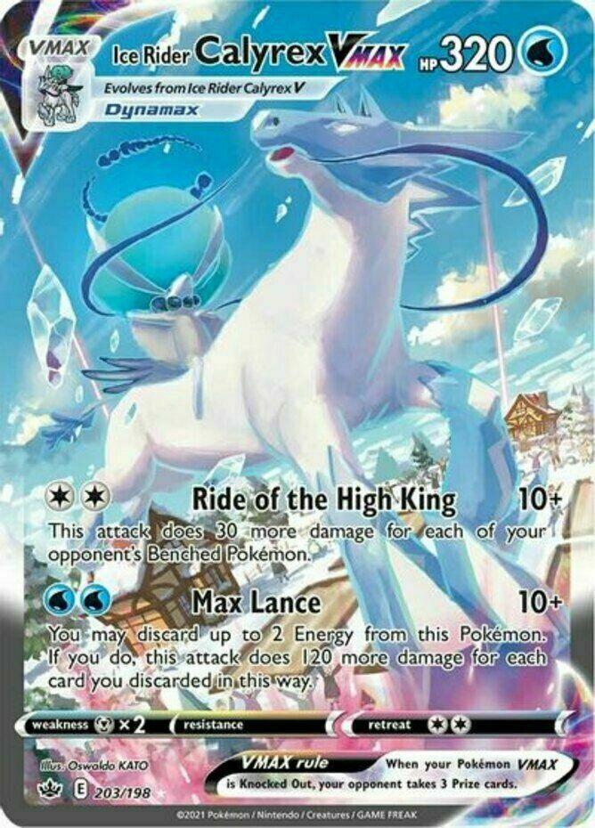 Pokemon - Ice Rider Calyrex VMAX - 203/198 - Secret R - Chilling Reign  - NM/M