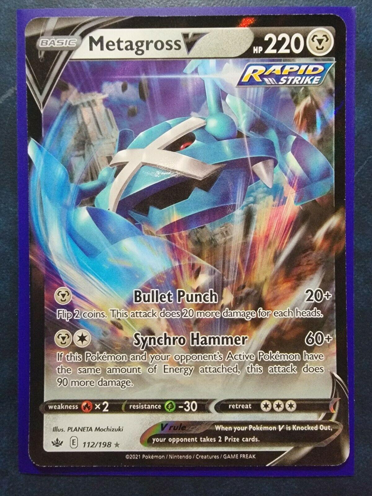 Metagross V Ultra Rare - 112/198 Pokemon TCG Chilling Reign NM