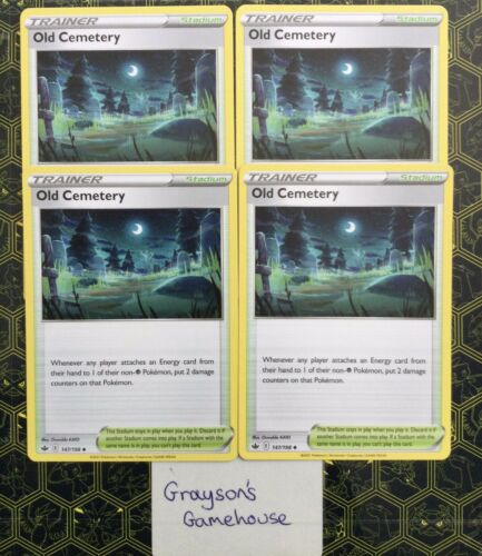 4x Pokemon - Old Cemetery - 147/198 - Chilling Reign (Playset) - Mint