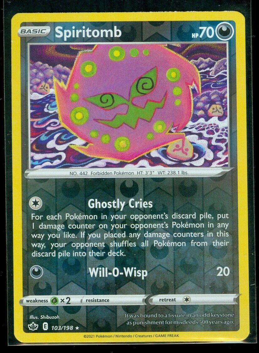 Pokemon SPIRITOMB 103/198 Chilling Reign - RARE Rev Holo - - MINT