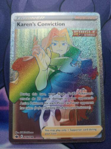 Pokémon TCG Chilling Reign Karen's Conviction 216/198 Secret Rare Full Art NM/M