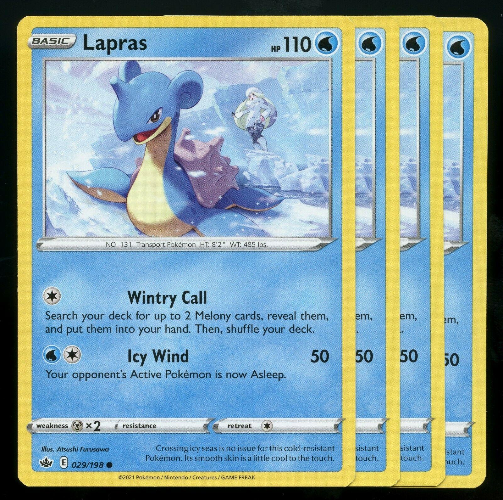 Pokemon Cards x4 Lapras 029/198 Chilling Reign Playset Excellent
