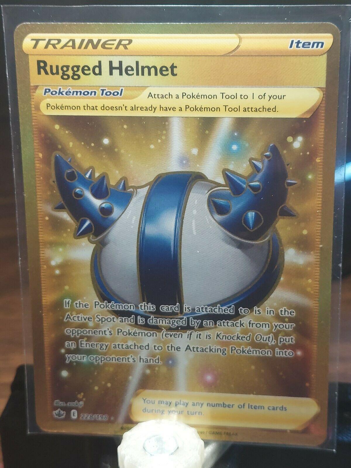Pokemon Rugged Helmet 228/198 Gold Secret Rare Chilling Reign NM/M