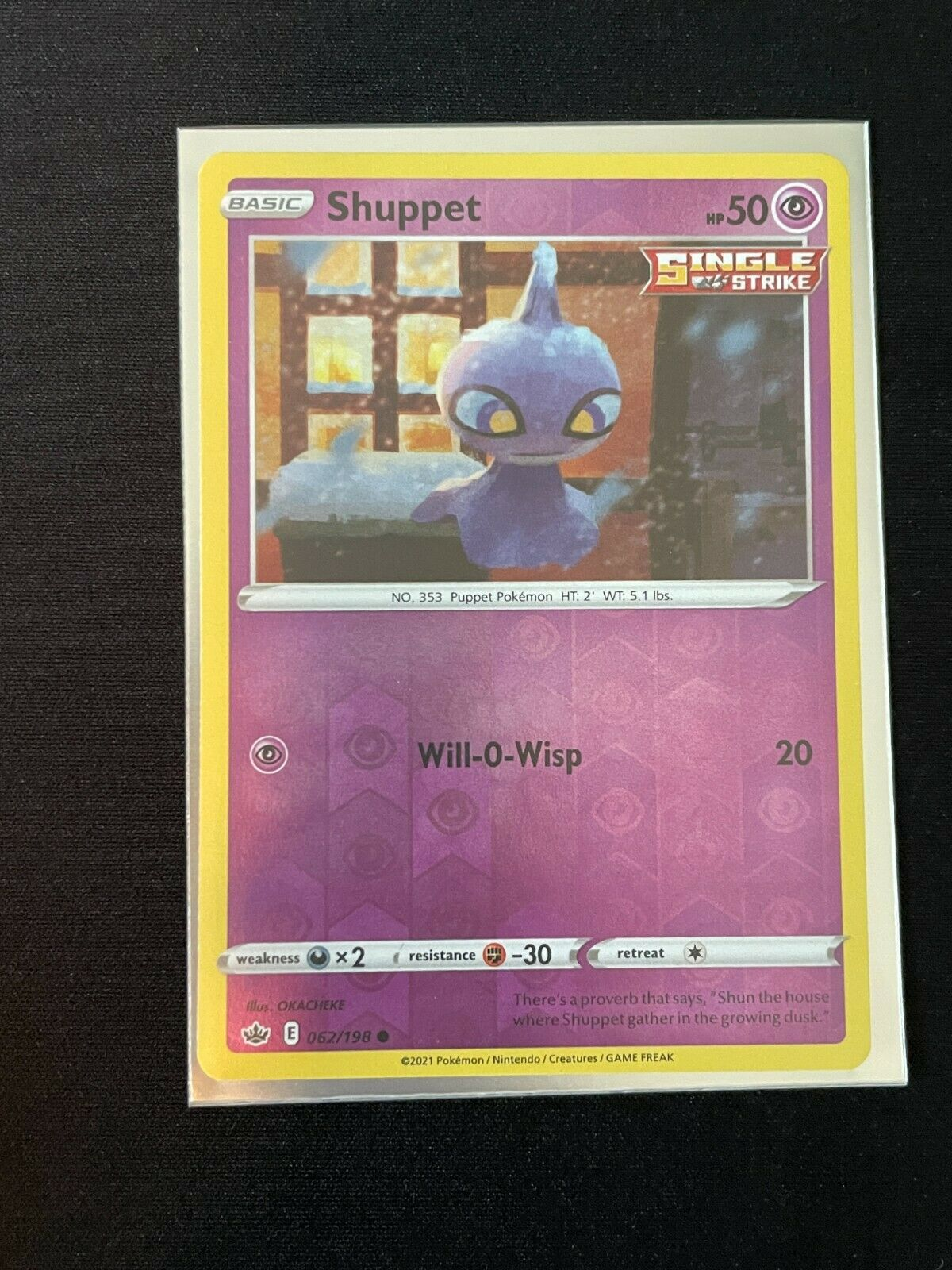 Pokemon Chilling Reign Shuppet 062/198 Common Reverse Holo NM