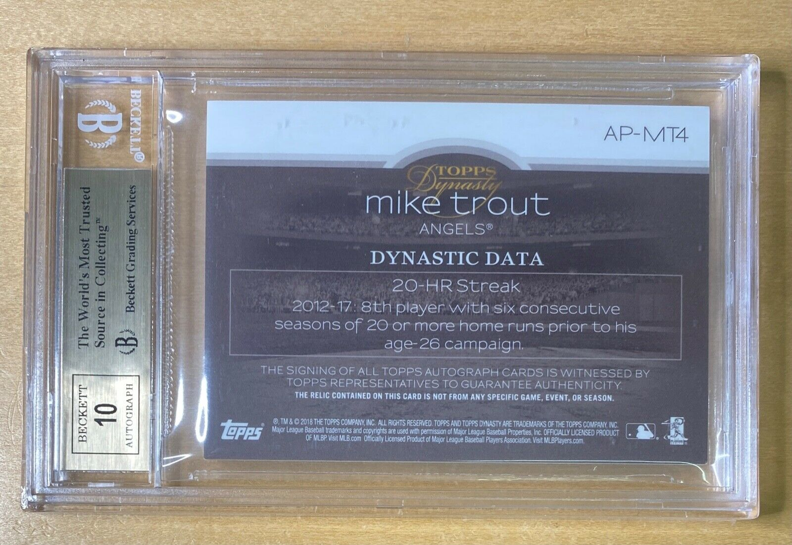 2018 Topps Dynasty MIKE TROUT Jersey Logo Patch Auto 1/5 BGS 9.5 Gem Mint Angels - Image 2