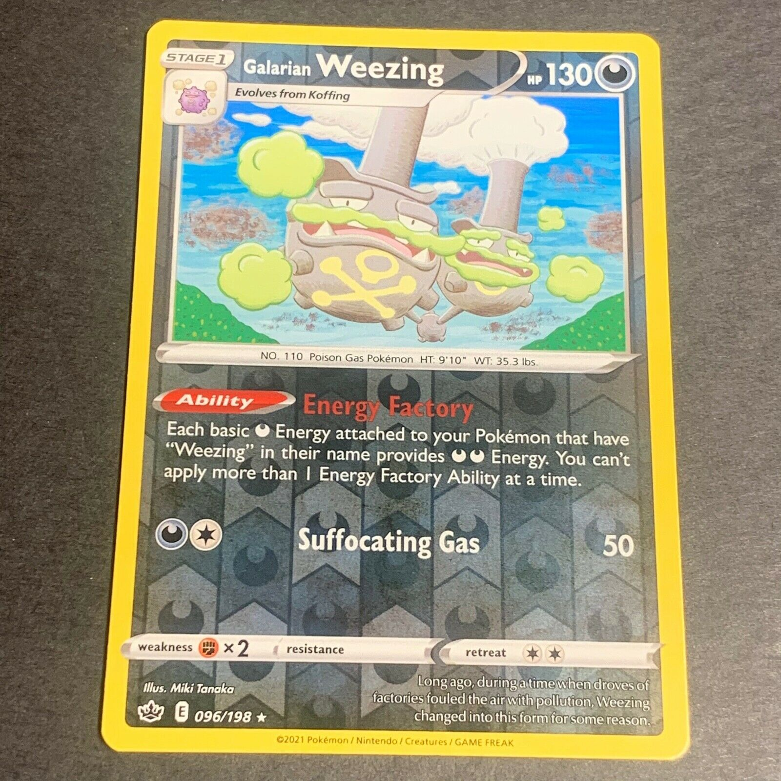 Pokemon S&S Chilling Reign Set REVERSE HOLO (R.) Galarian Weezing 096/198 - NM