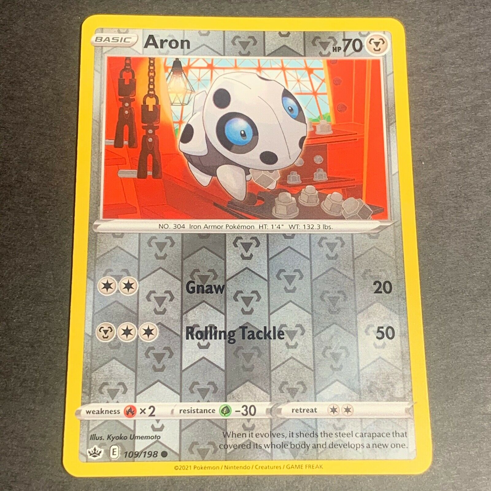 Pokemon S&S Chilling Reign Set REVERSE HOLO (C.) Aron 109/198 - Near Mint (NM)