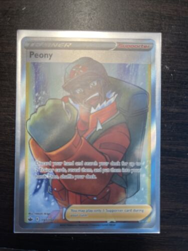 Pokemon TCG Card PEONY 197/198 Chilling Reign Ultra RARE FULL ART - NM-MINT